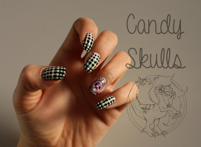 Candy Skulls - Fabulous Von Raptor Manicure (natural light no flash)
