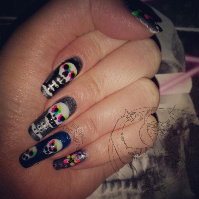 Graffiti Style Candy Skulls – Fabulous Von Raptor Manicure