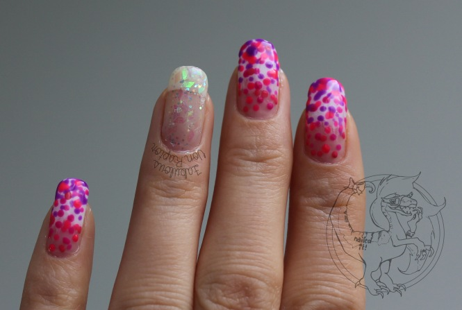 Crystal Pink Spotted Ombre – Fabulous Von Raptor Manicure (natural light no flash)