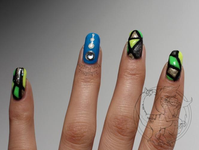 Neon-Classical Mosaic - Fabulous Von Raptor Manicure (natural light no flash)